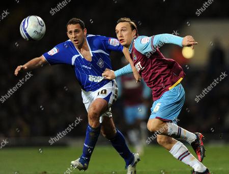Michael Chopra of Ipswich Town and Kevin Nolan of West Ham United United Kingdom Ipswich
