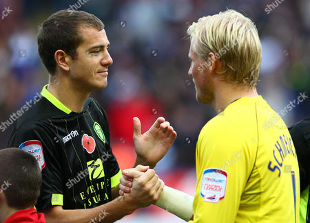 Leeds United Defender Paul Connolly Greets Former Team Mate Leicester City Goalkeeper Kasper Schmeichel United Kingdom Leicester