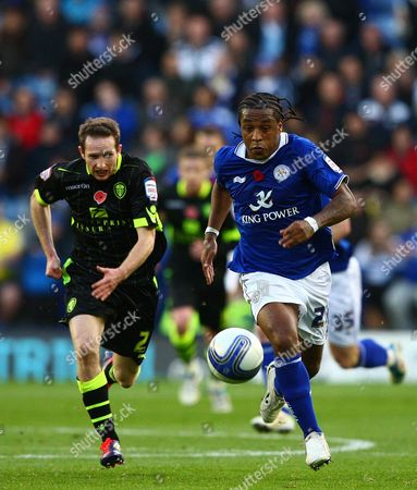 Leicester City Midfielder Neil Danns and Leeds United Defender Paul Connolly in Action United Kingdom Leicester