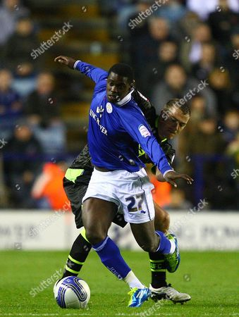 Leicester City Striker Jeffrey Schlupp and Leeds United Defender Paul Connolly in Action United Kingdom Leicester