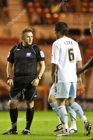 Middlesbrough V Burnley Referee Mr J Moss Has A Word with Burnley's Jack Cork at the Riverside Stadium Middlesbrough United Kingdom Middlesbrough