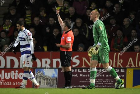 Adel Taarabt of Qpr is Shown A Yellow Card by Referee J Moss United Kingdom Norwich