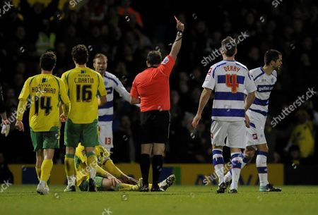 Matthew Connolly of Qpr is Shown A Red Card by Referee J Moss For His Foul On Grant Holt of Norwich City United Kingdom Norwich