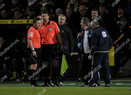 Qpr Manager Neil Warnock Talks with Referee J Moss United Kingdom Norwich