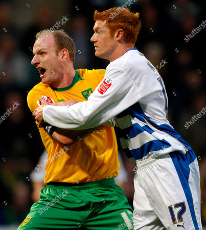 Gary Doherty of Norwich City Complains About Being Held by Dave Kitson of Reading United Kingdom Norwich