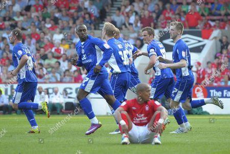 Goal Scorer Darius Vassell of Leicester City Looks Down at Robert Earnshaw of Nottingham Forest Who Recently Scored 2-2 United Kingdom Nottingham