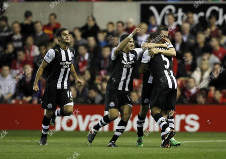 Peter Lovenkrands of Newcastle United Celebrates Scoring the Opening Goal of the Game with His Team-mates United Kingdom Nottingham