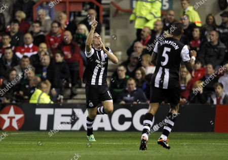 Peter Lovenkrands of Newcastle United Celebrates Scoring the Opening Goal of the Game United Kingdom Nottingham
