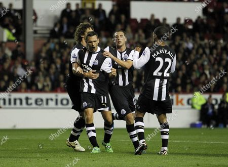 Peter Lovenkrands of Newcastle United Celebrates Scoring His Goal to Make It 1-2 From the Penalty Spot United Kingdom Nottingham