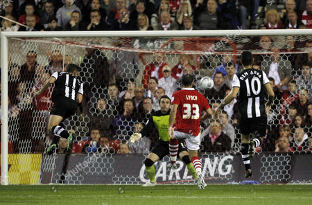 Peter Lovenkrands of Newcastle United Scores the Opening Goal of the Game United Kingdom Nottingham
