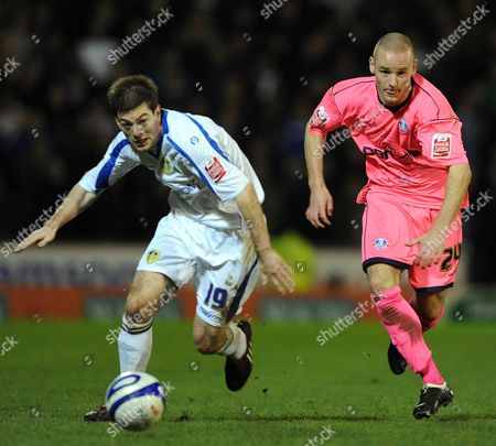Dean Smalley of Oldham Athletic and Ben Parker of Leeds United United Kingdom Oldham