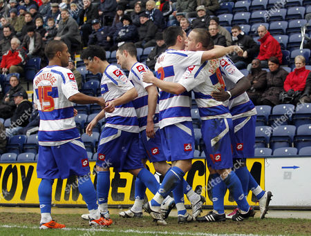 Heider Helguson of Qpr Celebrates Scoring the Opening Goal of the Game with His Team-mates United Kingdom Preston
