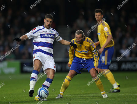 Adel Taarabt of Queens Park Rangers Watched by Robbie Savage and Daniel Sanchez Ayala of Derby County United Kingdom London