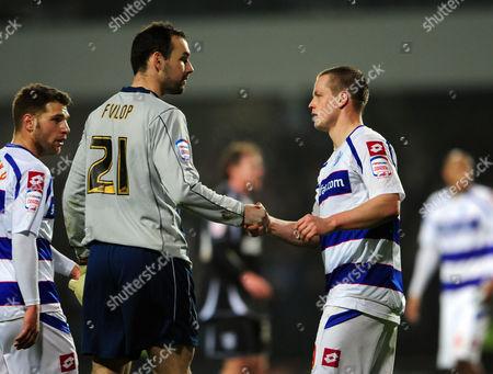 Heidar Helguson of Qpr Shakes Hands with Goalkeeper Marton Fulop of Ipswich Town United Kingdom London