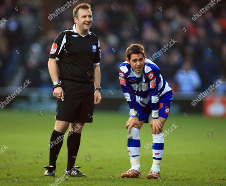 Referee Mr J Moss and Lee Cook of Qpr United Kingdom London