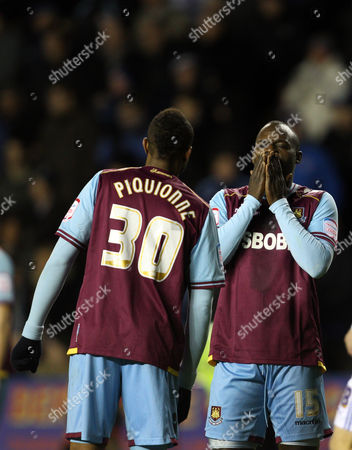 Abdoulaye Diagne-faye and Frederic Piquionne React As Joey O'brien of West Ham United is Sent Off United Kingdom Reading