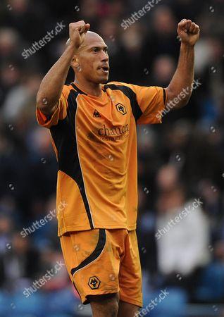 Chris Iwelumo of Wolverhampton Wanderers Celebrates at Full-time United Kingdom Sheffield