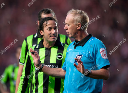 Mauricio Taricco of Brighton and Hove Albion Complains to Referee Peter Walton Before Being Sent Off United Kingdom Southampton