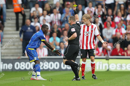 Max Gradel of Leeds United is Shown A Yellow Card by Referee Kevin Wright United Kingdom Southampton