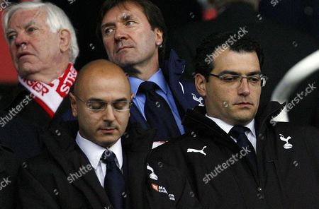 Worried Looking Tottenham Hotspur Chairman Daniel Levy (left) Next to Sporting Director Damien Comolli Look On From the Stand United Kingdom Stoke