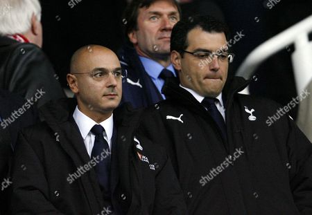 Tottenham Hotspur Chairman Daniel Levy (left) Next to Sporting Director Damien Comolli Look On From the Stand United Kingdom Stoke