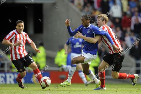Calum Davenport of Sunderland Pulls Back Jo of Everton and Gets Booked For His Trouble United Kingdom Sunderland