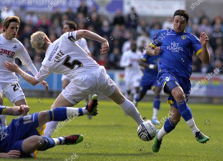 Swansea City Defender Alan Tate Tackles Leeds United Striker Davide Somma United Kingdom Swansea