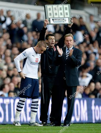 Tottenham Hotspur Manager Harry Redknapp Applauds Luka Modric (not Pictured) As Jamie O'hara Comes On As A Substitute For Modric United Kingdom London