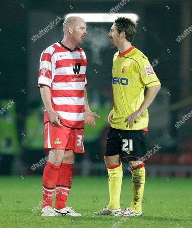 The Two Goalscorers Steve Brooker of Doncaster Rovers and Tommy Smith of Watford Talk After the Game United Kingdom London