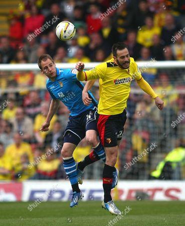 Leeds United's Luke Varney Battles with Watford's Marco Cassetti United Kingdom London