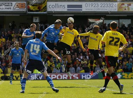 Watford's Marco Cassetti Heads the Ball United Kingdom London