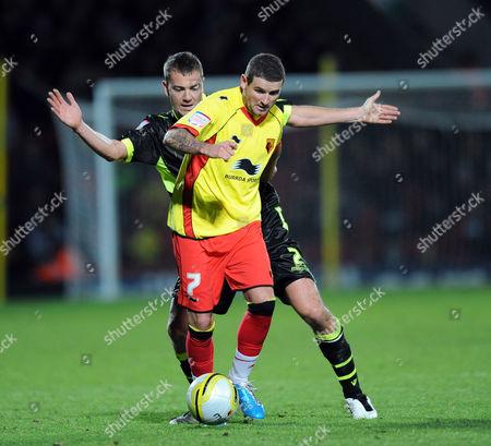 Paul Connolly of Leeds United and Mark Yeates of Watford United Kingdom London