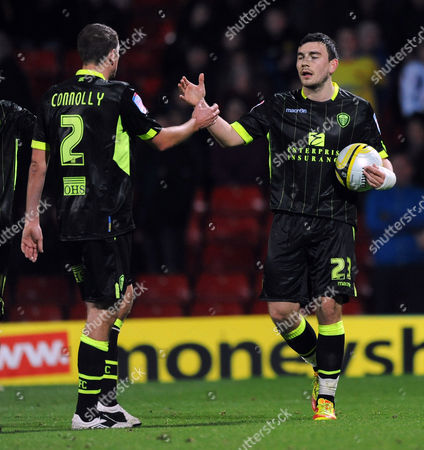 Robert Snodgrass of Leeds United Celebrates Late Penalty with Paul Connolly (left) United Kingdom London