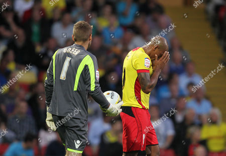 Chris Iwelumo of Watford Buries His Face in His Hands After A Missed Chance Against Robert Green of West Ham United United Kingdom London