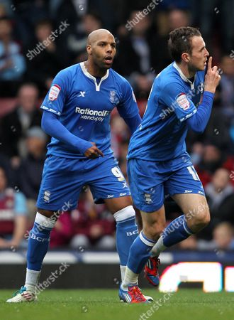 Jordon Mutch of Birmingham City Celebrates Scoring the Opening Goal with Marlon King United Kingdom London