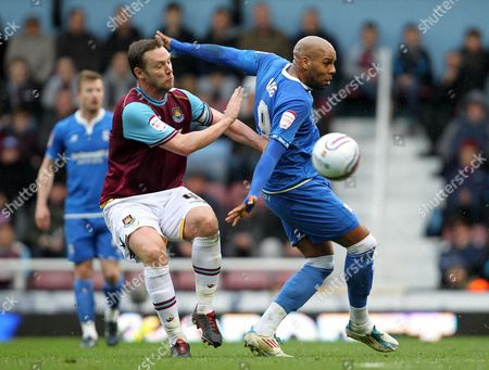Marlon King of Birmingham City in Action with Kevin Nolan of West Ham United United Kingdom London