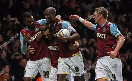 Mark Noble of West Ham United Celebrates Scoring A Goal to Make the Score 3-1 with Carlton Cole Kevin Nolan and Frederic Piquionne United Kingdom London