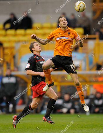 Heidar Helguson of Cardiff City and Roger Johnson of Wolverhampton Wanderers United Kingdom Wolverhampton