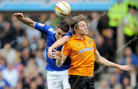 Matty James of Leicester City and Bjorn Bergmann Sigurdarson of Wolverhampton Wanderers United Kingdom Wolverhampton