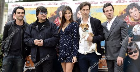 Stock Photo of Italian actors/cast members (L-R) Primo Reggiani, Ricky Memphis, Ariadna Romero, Francesco Apolloni and Francesco Montanari, pose for photographs during the photocall for the movie 'Ovunque tu sarai' in Rome, Italy, 20 March 2017. The movie will be released in Italian theaters on 06 April.