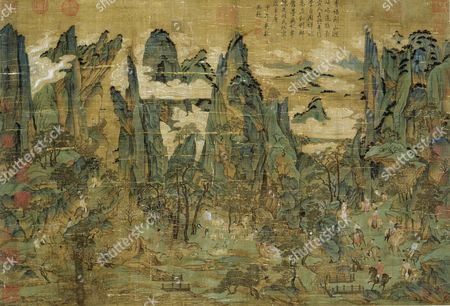 """An anonymous painting """"The Flight of the Emperor Ming Huang to Shu"""". Ming Huang (also known as Xuan Zong) with his concubine Yang Guifei and his imperial entourage flee the An Lushan rebellion of 755. The painting is executed in the so-called Tang """"blue & green"""" landscape. Country of Origin: China. Culture: Chinese. Date/Period: Tang dynasty/ 618-906 AD."""