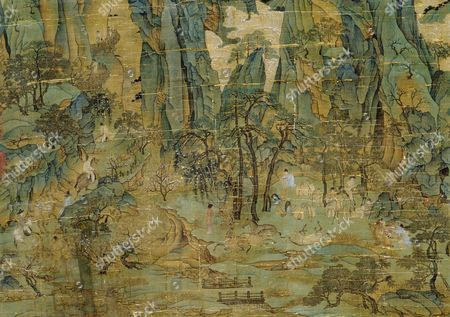 Detail of an anonymous painting 'The Flight of the Emperor Ming Huang to Shu'. Ming Huang (Xuan Zong) with his concubine Yang Guifei and his imperial entourage flee the An Lushan rebellion of 755. The painting is executed in the so-called Tang 'blue &green' landscape style dominated by fairy-tale pinnacles & wispy clouds. Country of Origin: China. Culture: Chinese. Date/Period: Tang dynasty, AD 618-906.
