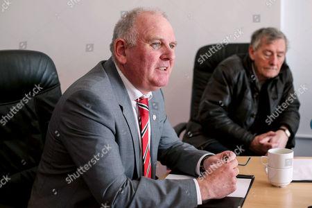 Stock Photo of Derry City FC vice-chairman Sean Barrett speaking to the media regarding the death of club captain Ryan McBride