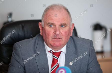 Derry City FC vice-chairman Sean Barrett speaking to the media regarding the death of club captain Ryan McBride