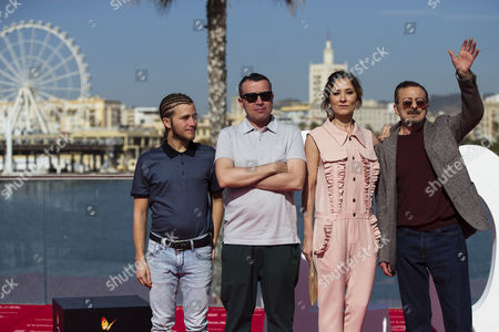 Stock Picture of Film director Lino Escalera (2-L) and cast members Emilio Palacios (L), Nathalie Poza and Juan Diego (R) pose for photographers after the presentation of their film 'No se decir adios' (I don't say goodbye) as part of 20th Malaga Film Festival, in Malaga, Spain 20 March 2017. The event runs from 17 to 26 March.