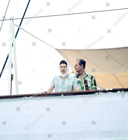 Onboard the Royal Yacht Britannia about to leave Appia, Western Samoa for Fiji during their visit to the South Pacific in 1977