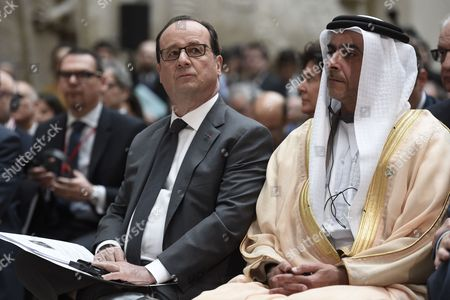 Stock Image of Francois Hollande and Sheikh Saif Bin Zayed Al-Nahyan