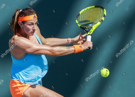 Mariana Duque-Marino of Colombia in action against Urszula Radwanska of Poland during a qualifying round match at the Miami Open tennis tournament on Key Biscayne, Miami, Florida, USA, 20 March 2017.