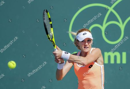 Urszula Radwanska of Poland in action against Mariana Duque-Marino of Colombia during a qualifying round match at the Miami Open tennis tournament on Key Biscayne, Miami, Florida, USA, 20 March 2017.