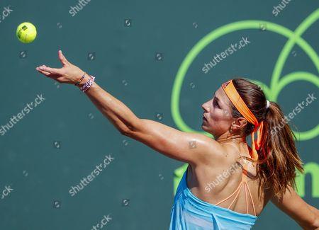 Mariana Duque-Marino of Colombia serves against Urszula Radwanska of Poland during a qualifying round match at the Miami Open tennis tournament on Key Biscayne, Miami, Florida, USA, 20 March 2017.